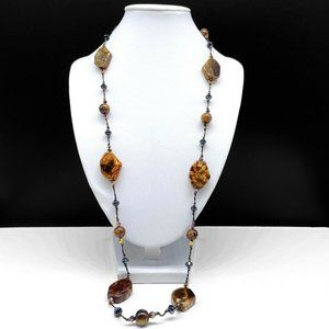 NEW Premier Designs Truffle Crystal Necklace Brown